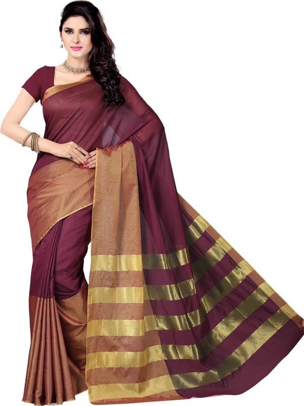 Rani Saahiba Solid Gadwal Cotton Saree(Purple)