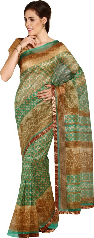 Aryahi Printed Fashion Net Saree(Beige)