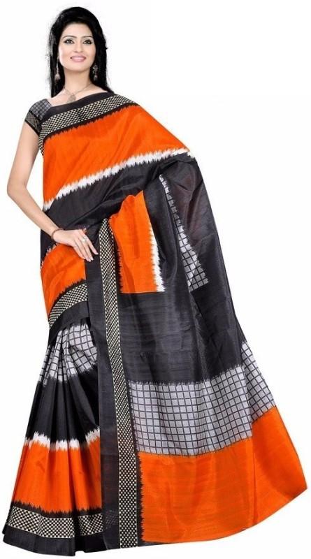 Right Shape Printed Bhagalpuri Jute Saree(Multicolor)