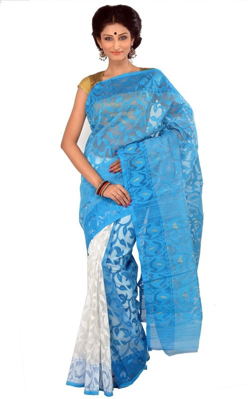 Rudrakshhh Embroidered Bhagalpuri Handloom Cotton, Pure Cotton, Polycotton Saree(Blue, White)