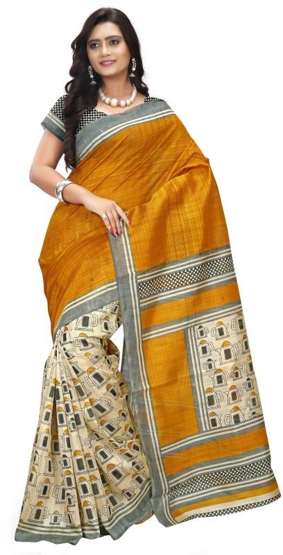 Khoobee Self Design, Printed Fashion Art Silk Saree(Orange, Beige, Grey)