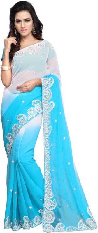 Aruna Sarees Embroidered Fashion Handloom Chiffon Saree(Blue, White)