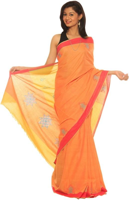 Indo Mood Woven Fashion Cotton Saree(Orange)