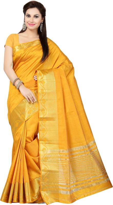 Ishin Woven Fashion Tussar Silk Saree(Yellow)