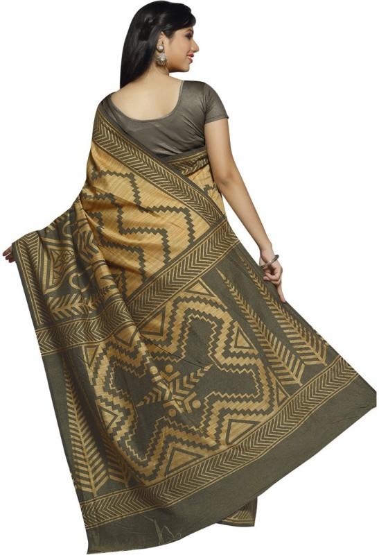Rani Saahiba Printed Fashion Art Silk Saree(Beige)