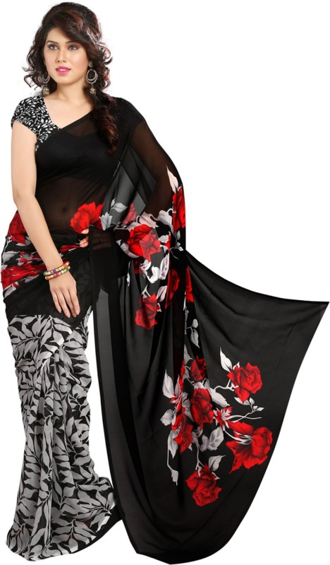 Heena Printed Bollywood Georgette Saree(Black, Red)