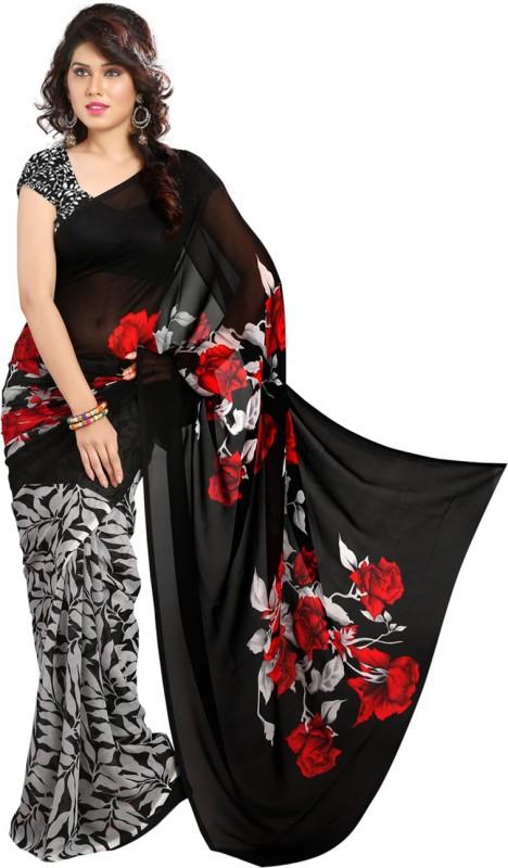 Heena Printed Bollywood Georgette Saree(Black, Red)