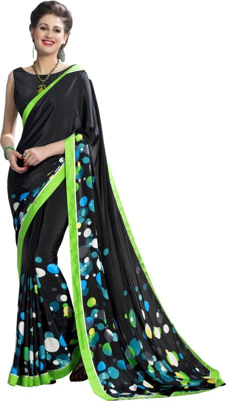 Jiya Self Design, Printed Fashion Art Silk, Poly Crepe Saree(Multicolor, Black)