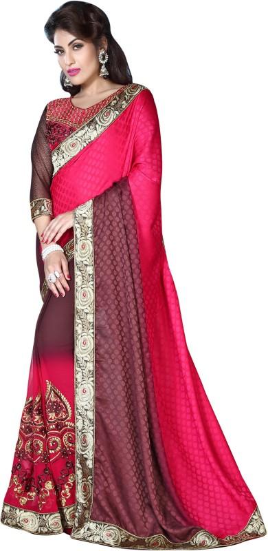 Khushali Self Design, Embroidered, Embellished Fashion Georgette, Crepe, Jacquard Saree(Pink, Purple)