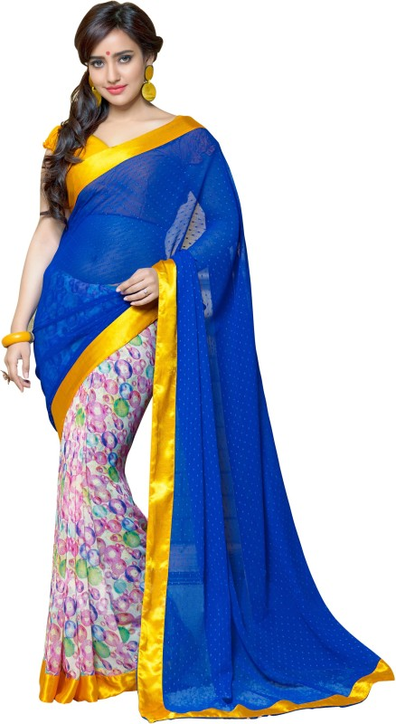 Khoobee Self Design, Printed Fashion Georgette Saree(Blue, Multicolor)
