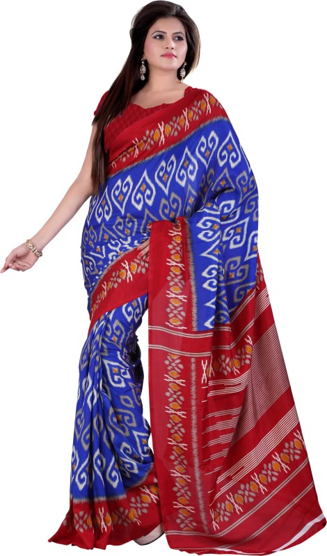 Khoobee Self Design, Printed Fashion Poly Silk Saree(Multicolor, Blue, Maroon)
