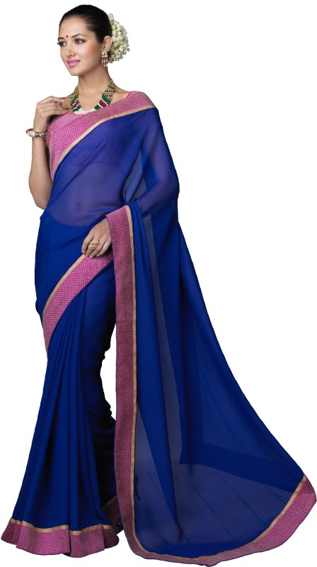 Khoobee Self Design Fashion Poly Georgette Saree(Blue, Pink, Beige)