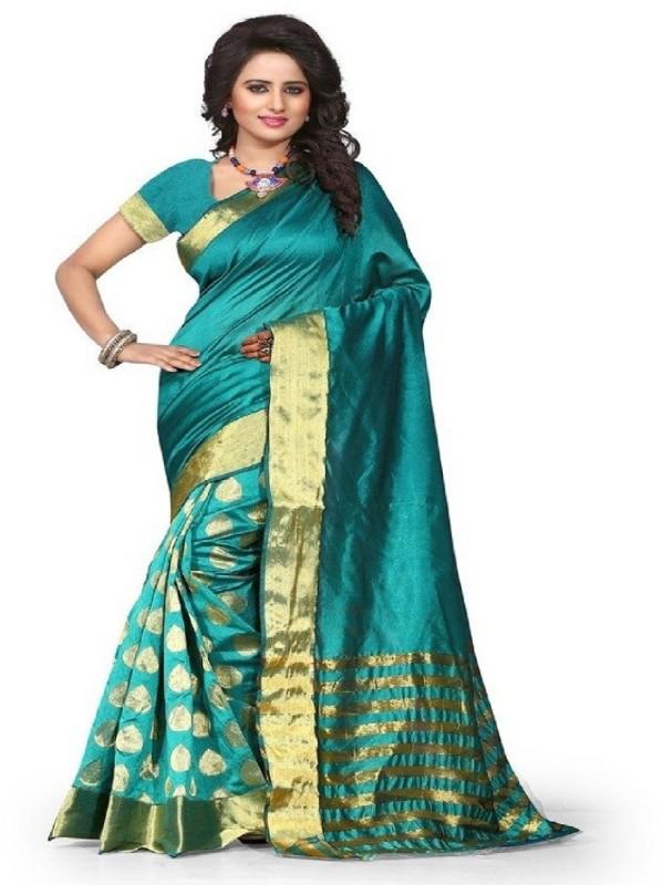 Binal Fashion Printed Bollywood Poly Silk Saree(Blue)