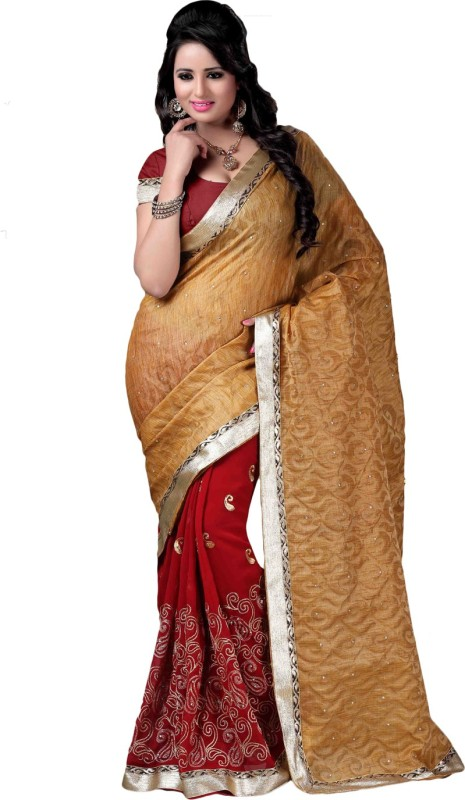 26a0e688865025 Desi Butik Embroidered Fashion Jacquard, Art Silk Saree(Beige, Maroon)