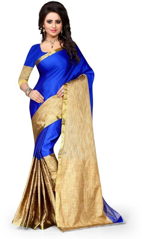 Style U Embellished Kanjivaram Handloom Art Silk, Polyester Saree(Blue, Beige)