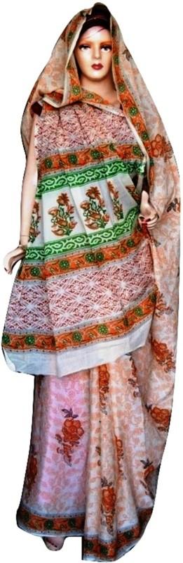 Sprint Textiler & Manufacturer Floral Print Phulkari Cotton Blend Saree(Multicolor)