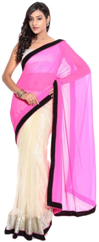 Bollywood Designer Self Design Bollywood Net Saree(Pink)
