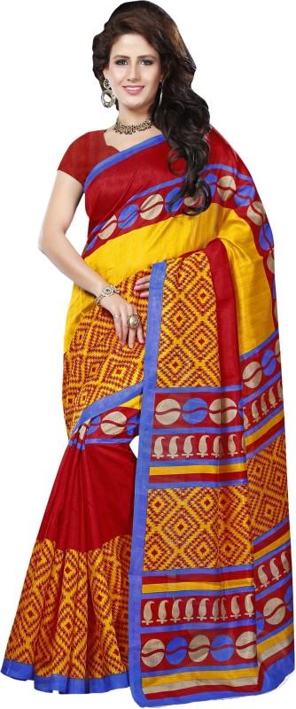 Khushali Self Design, Printed Fashion Art Silk Saree(Red, Yellow)