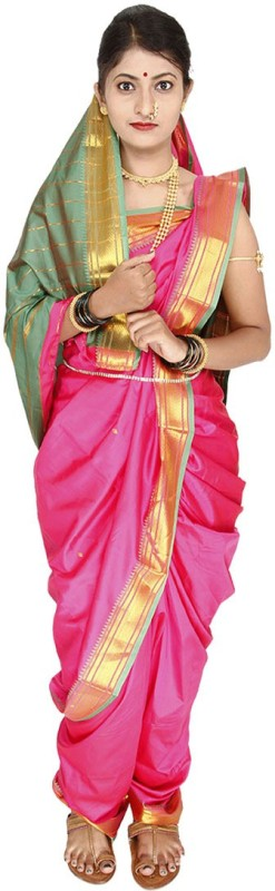 Womens Cottage Solid Assam Silk Cotton Saree(Pink)