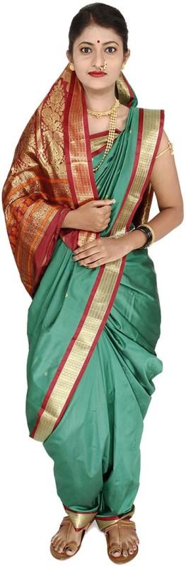 Womens Cottage Solid Assam Silk Cotton Saree(Green)