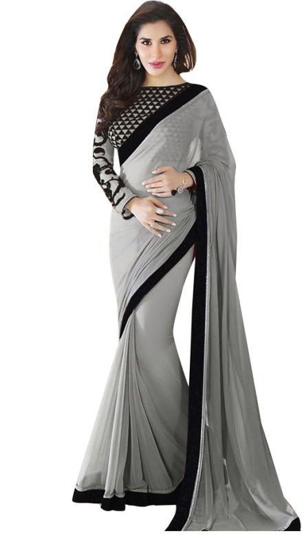 Saumya Designer Self Design Bollywood Poly Georgette Saree(Grey)