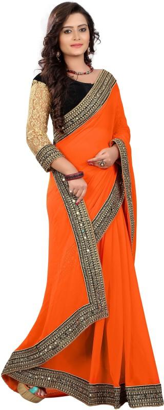 Chirag Sarees Embellished Fashion Georgette Saree(Orange)