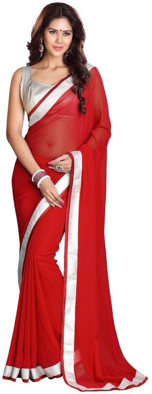 Fashion And Hub Solid Fashion Georgette Saree(Red)