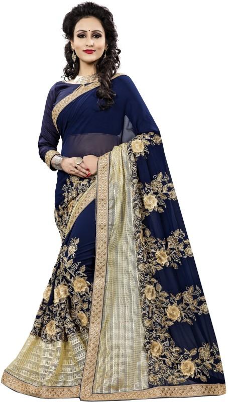 Aashvi Creation Embroidered, Self Design Fashion Georgette Saree(Multicolor)