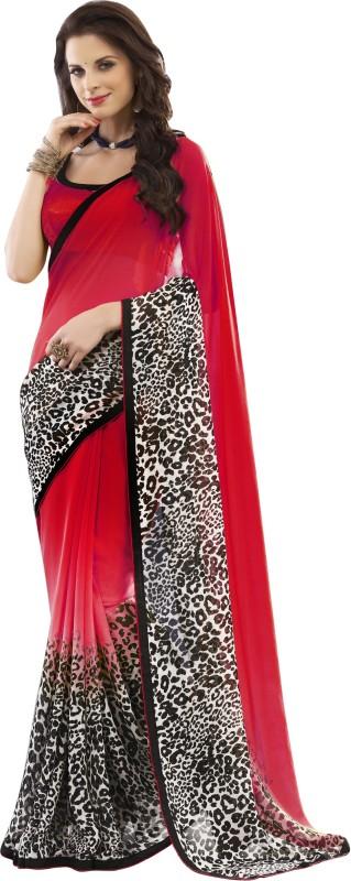 Khushali Self Design Fashion Georgette Saree(Red, Multicolor)