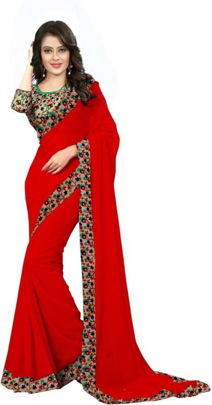Laazreefashion Floral Print Bollywood Georgette, Art Silk Saree(Red, Beige)