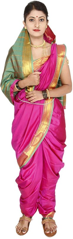 Womens Cottage Solid Assam Silk Art Silk Saree(Pink)
