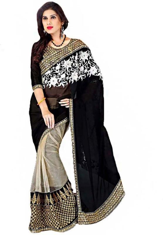 Vembro Embellished Bollywood Art Silk Saree(Black, White)