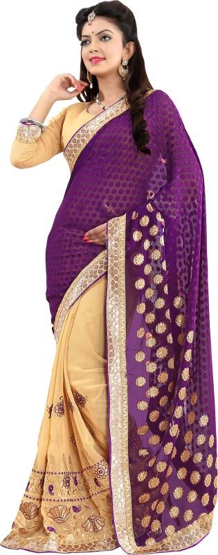 Khushali Self Design, Embroidered, Embellished Fashion Georgette, Jacquard Saree(Purple, Beige)