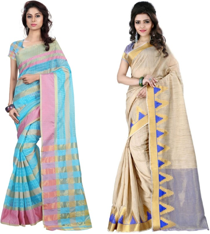 Pari Designer Self Design Fashion Cotton Blend Saree(Pack of 2, Multicolor)