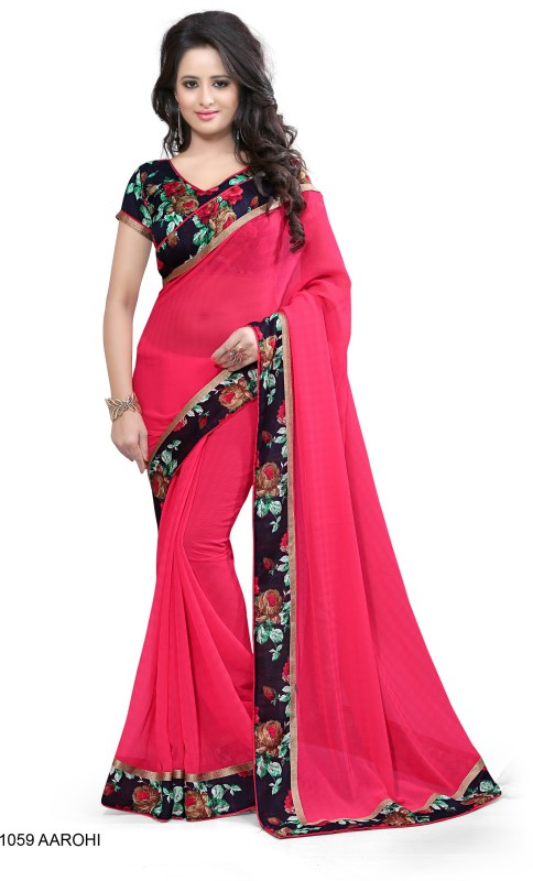 Indianbeauty Self Design, Solid, Printed Bollywood Chiffon Saree(Red)