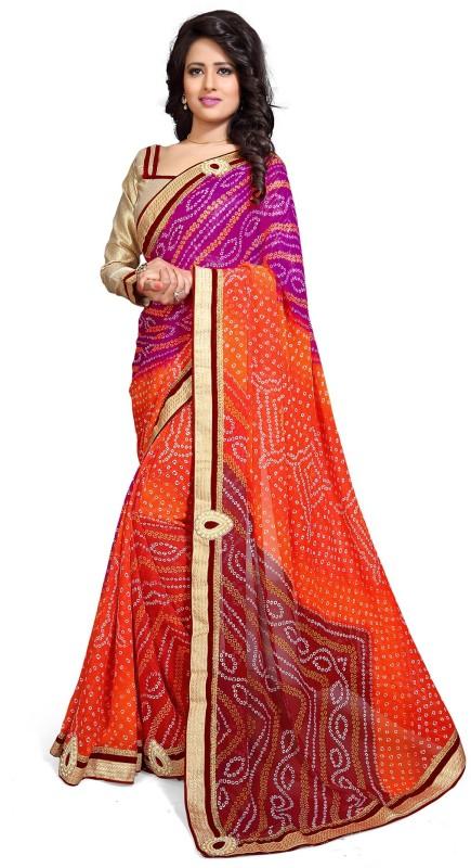Mirchi Fashion Printed Bandhani Georgette Saree(Pink, Orange)