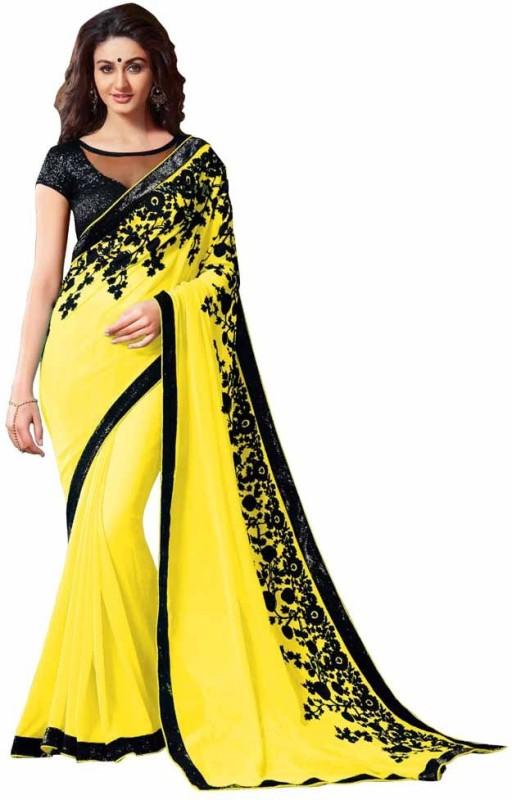 Stylezone Embroidered Fashion Chiffon Saree(Yellow)