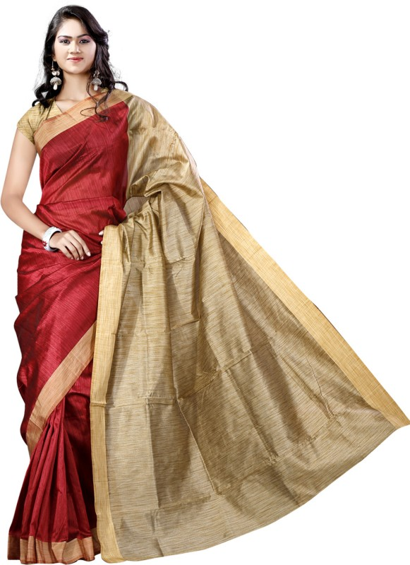Vastrakala Solid Banarasi Cotton, Silk Saree(Maroon)