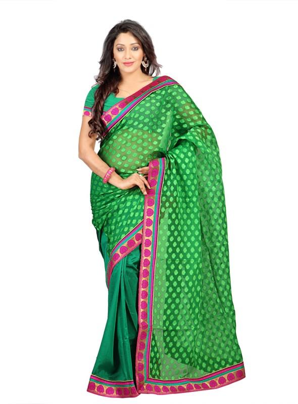Weavedeal Embellished Banarasi Art Silk Saree(Green)