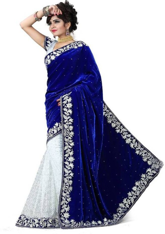 Snh Export Solid, Embroidered, Self Design Bollywood Velvet Saree(Blue, White)