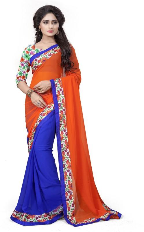 Aashvi Creation Floral Print Fashion Georgette Saree(Orange, Blue)