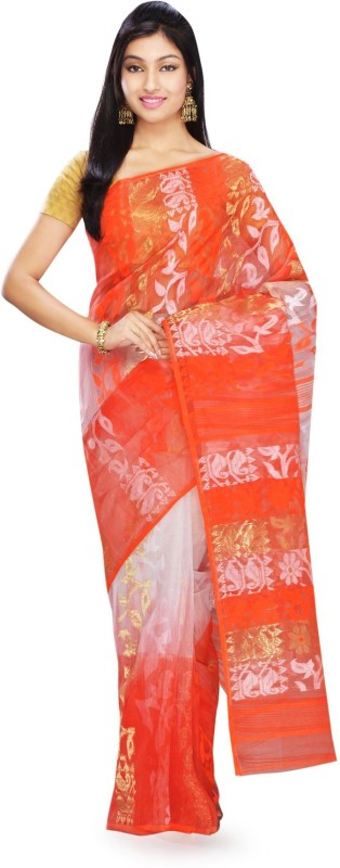 Rudrakshhh Embroidered Jamdani Handloom Cotton Saree(Multicolor)