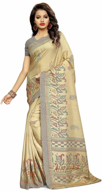 Urban Vastra Floral Print Fashion Raw Silk Saree(Beige, Grey)