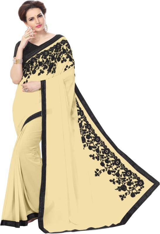 onlinefayda Embroidered Daily Wear Chiffon Saree(Beige)