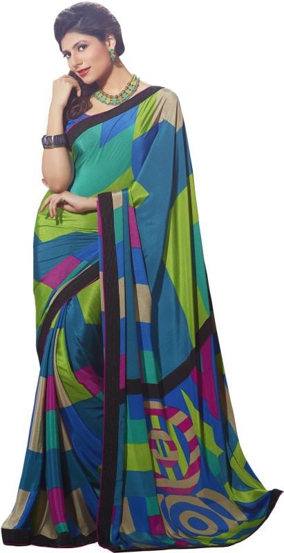 Khushali Self Design, Printed Fashion Silk, Crepe Saree(Multicolor)