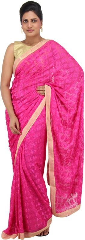The Phulkari Self Design Phulkari Chiffon Saree(Pink)