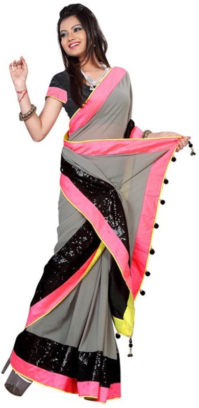 Ram Fashion Self Design Fashion Georgette Saree(Grey)