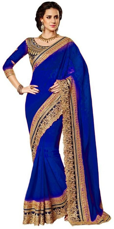Winza Designer Embroidered, Embellished Bollywood Poly Georgette Saree(Blue)
