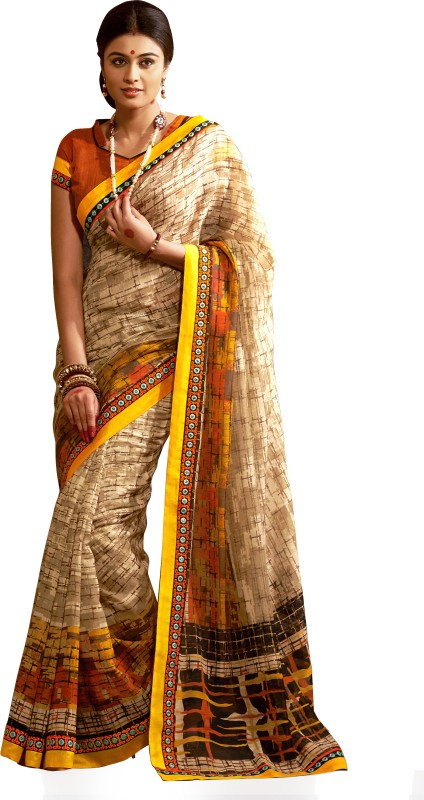Khoobee Self Design, Printed Fashion Art Silk Saree(Beige, Multicolor, Orange)