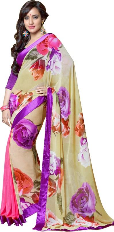 Khoobee Self Design, Printed Fashion Georgette Saree(Beige, Multicolor, Pink)